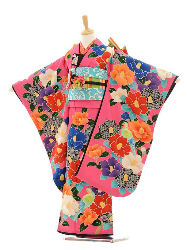 七五三レンタル(7歳女の子結び帯)7202 九重 椿ピンク