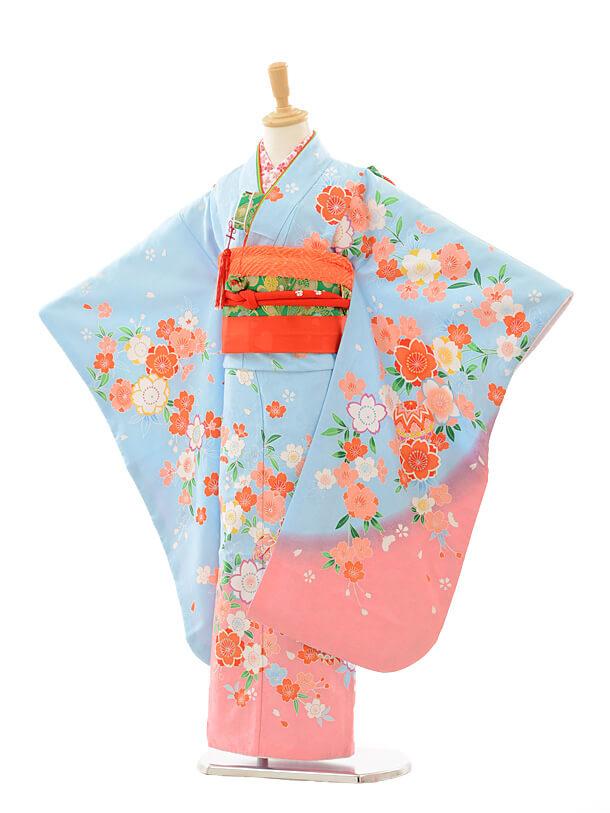 七五三レンタル(7歳女の子結び帯)7242 水色 ピンクぼかし