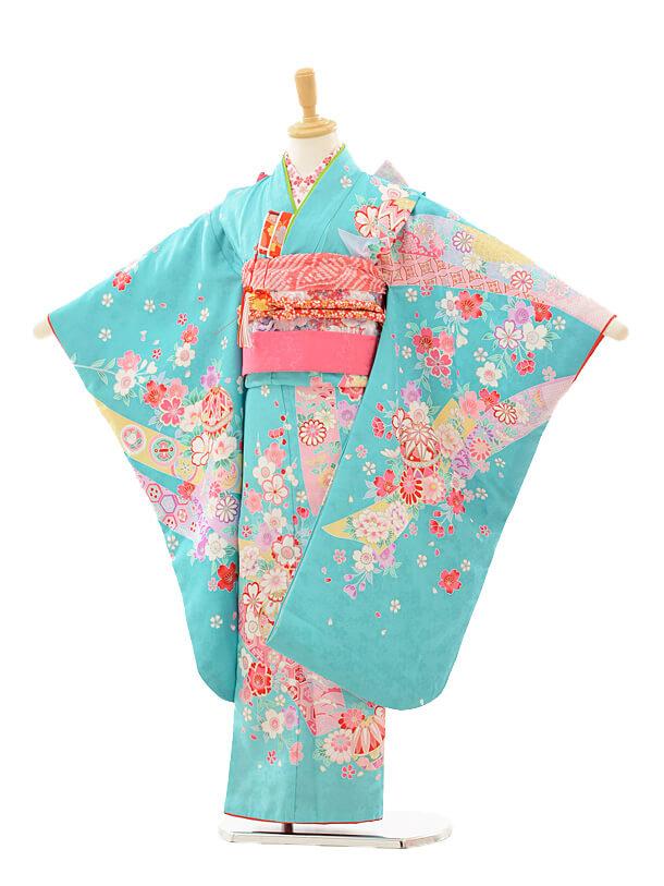 七五三レンタル(7歳女の子結び帯)7249 水色 花