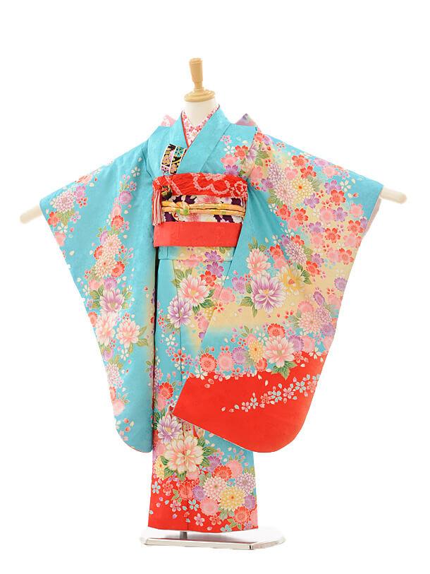 七五三レンタル(7歳女の子結び帯)7251 水色 裾赤 花