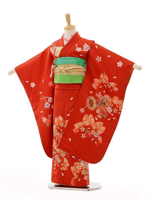 七五三(7歳女結び帯)7259 赤桜鼓