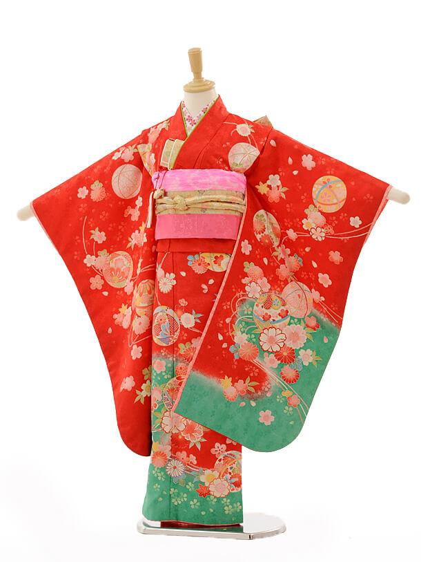 七五三レンタル(7歳女の子結び帯)7263 赤裾グリーンまり