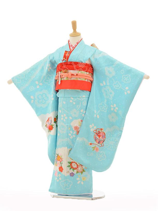 七五三レンタル(7歳女の子袋帯)7265 水色絞りまり花(正絹)