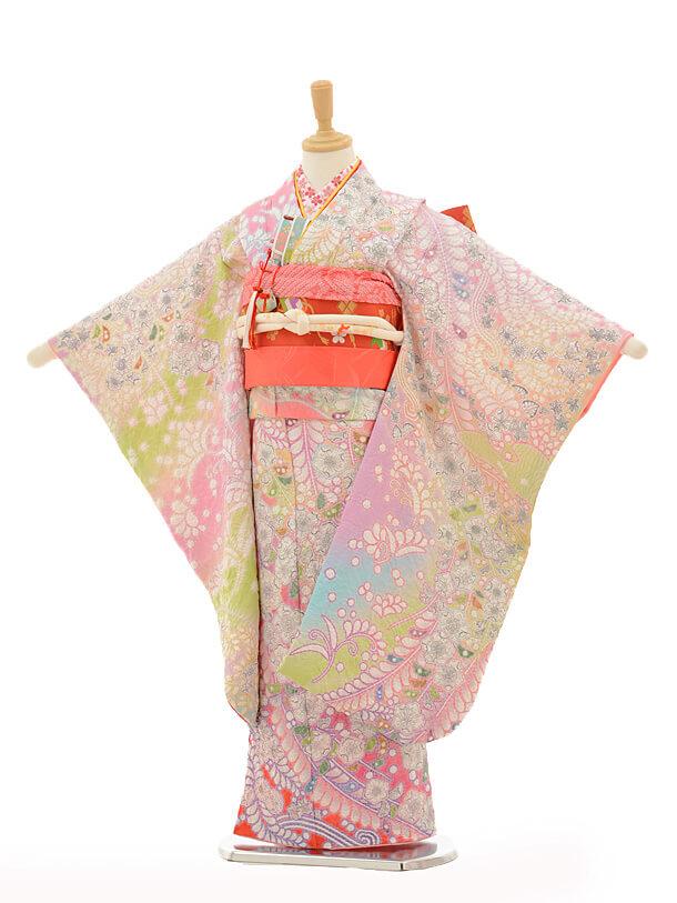 七五三(7歳女児袋帯)最高級正絹7266 おぼろ染め 辻ヶ花 総絞り