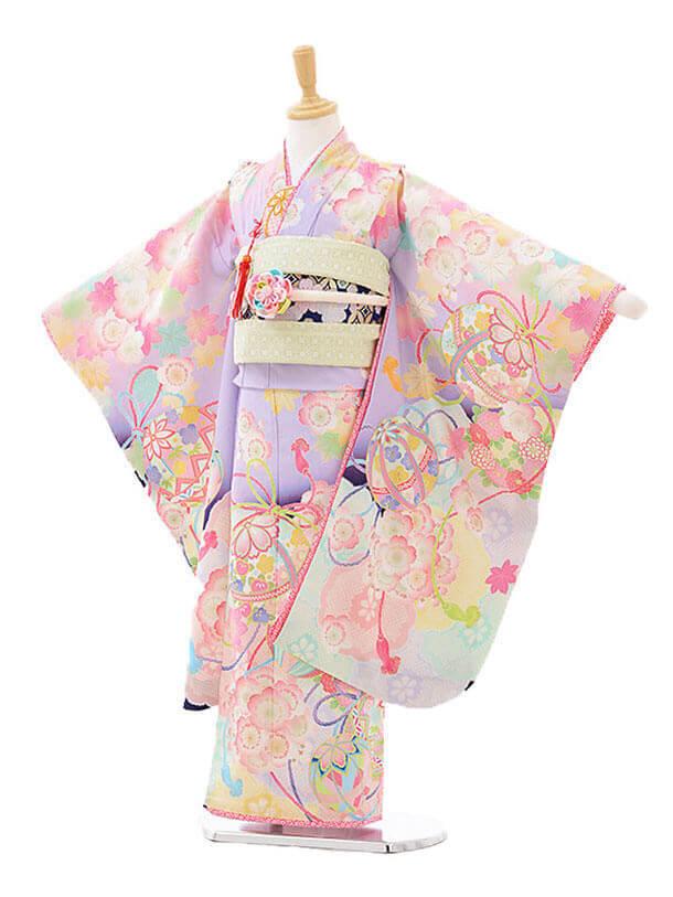 七五三(7才)7291 乙葉絵羽桜に鞠 薄紫