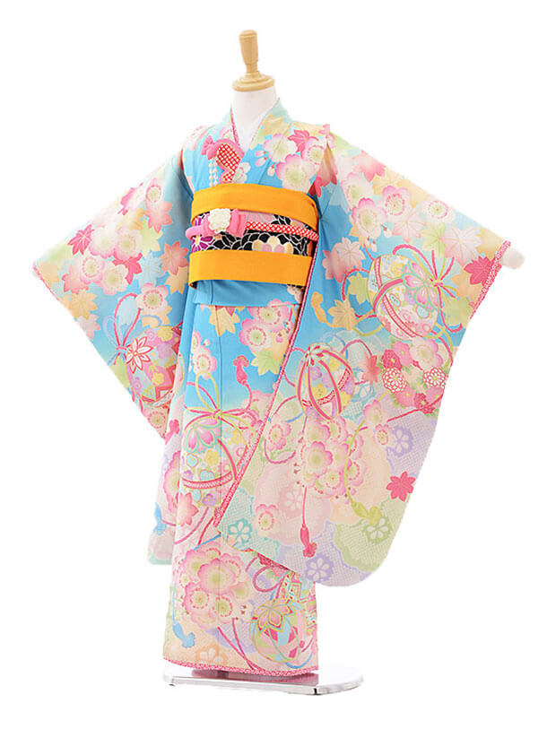 七五三レンタル(7才)7293 乙葉絵羽桜に鞠 水色