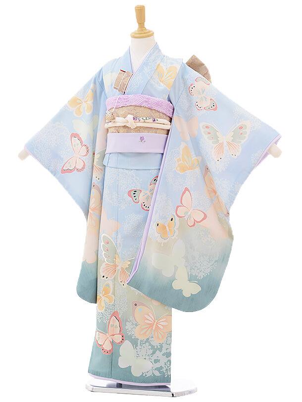 七五三レンタル(7歳女の子結び帯)7295 JILL STUART 蝶々 水色