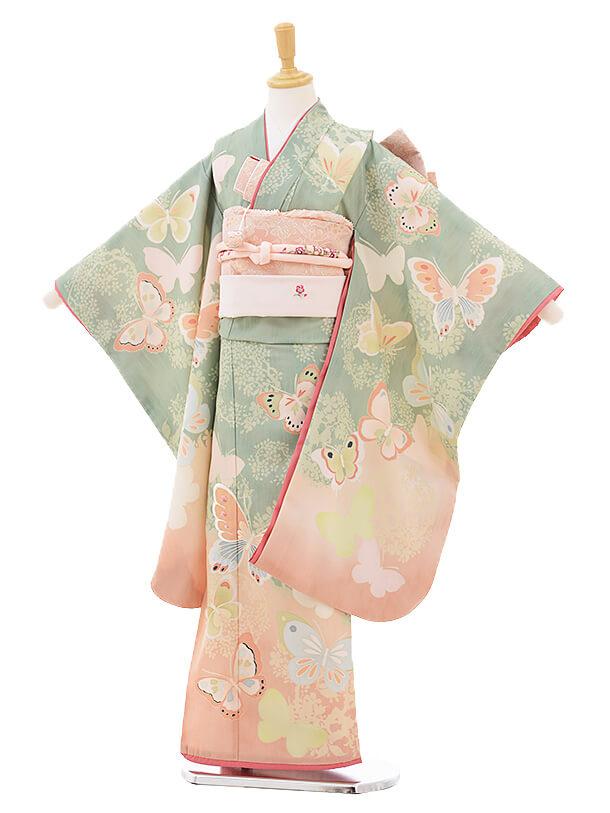 七五三レンタル(7歳女の子結び帯)7296 JILL STUART 蝶々 薄緑