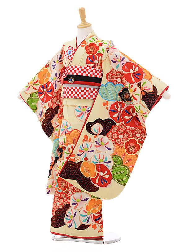 ▶七五三(7歳女結び帯)7298 JAPAN STYLE 万寿菊 クリーム
