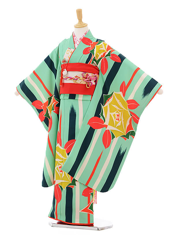 七五三レンタル(7歳女の子結び帯)7303 LILLI 緑バラ
