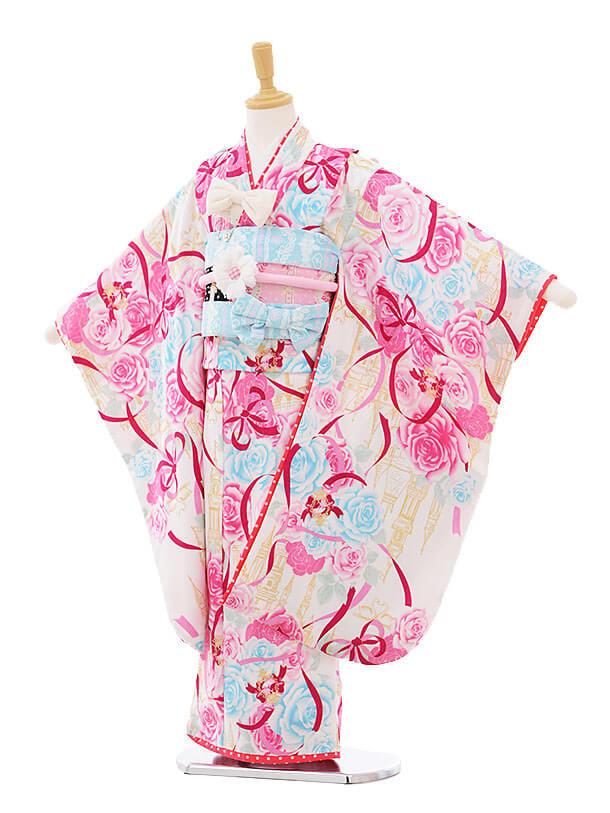 七五三(7歳女結び帯)7306 seiko 白 お城にバラ