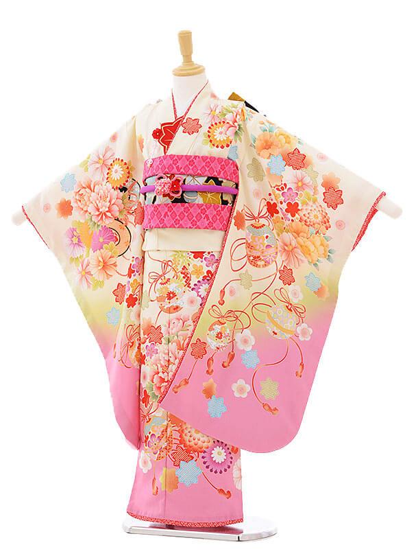 七五三(7歳女結び帯)7312 乙葉 クリーム地ピンク ぼかし花