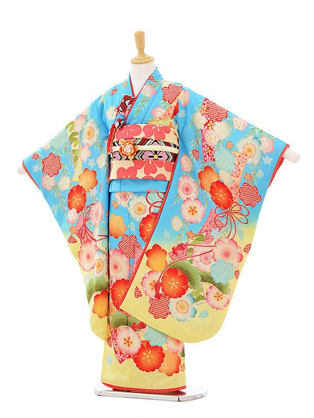 七五三(7歳女結び帯)7313 九重 水色 梅桜