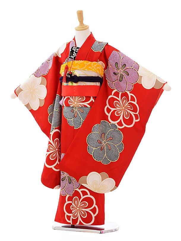七五三(7歳女袋帯)7319 紅一点 赤 (正絹)