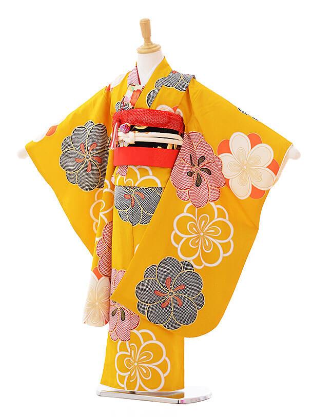 七五三レンタル(7歳女の子袋帯)7320 紅一点 からし色 (正絹)