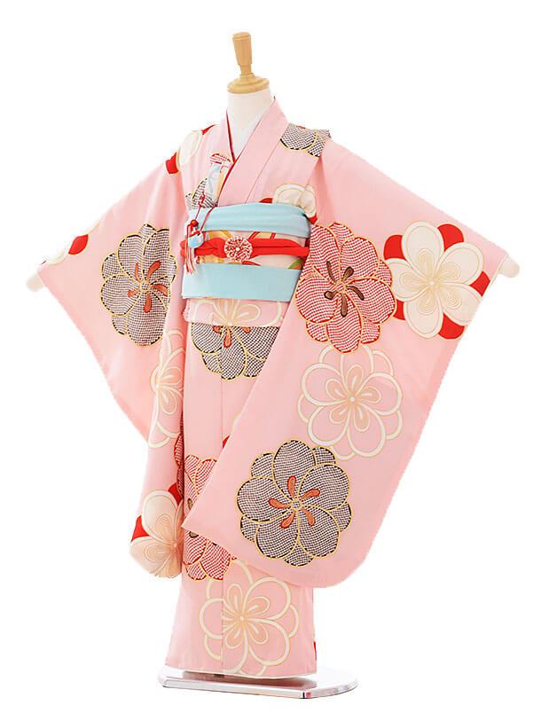 七五三(7歳女袋帯)7322 紅一点 ピンク (正絹)