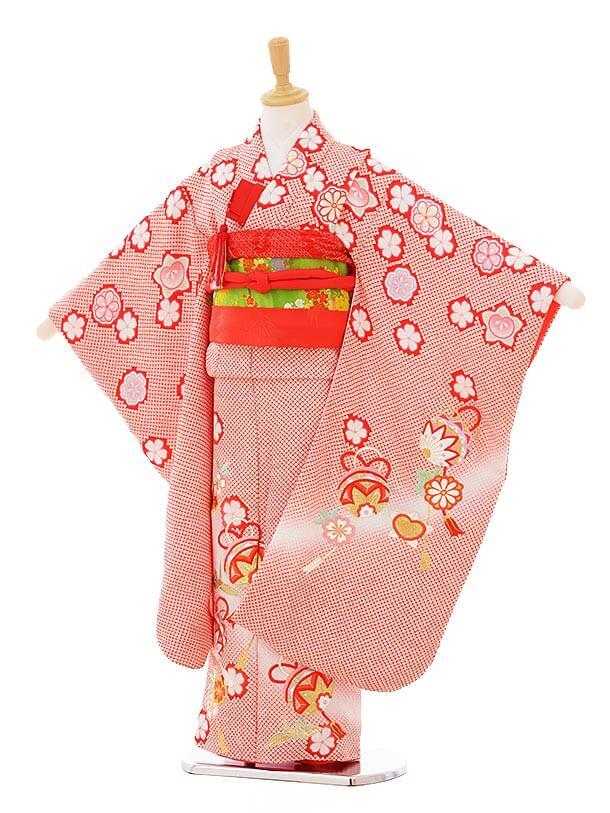 七五三(7歳女袋帯)7324 赤地 鹿の子 (正絹)