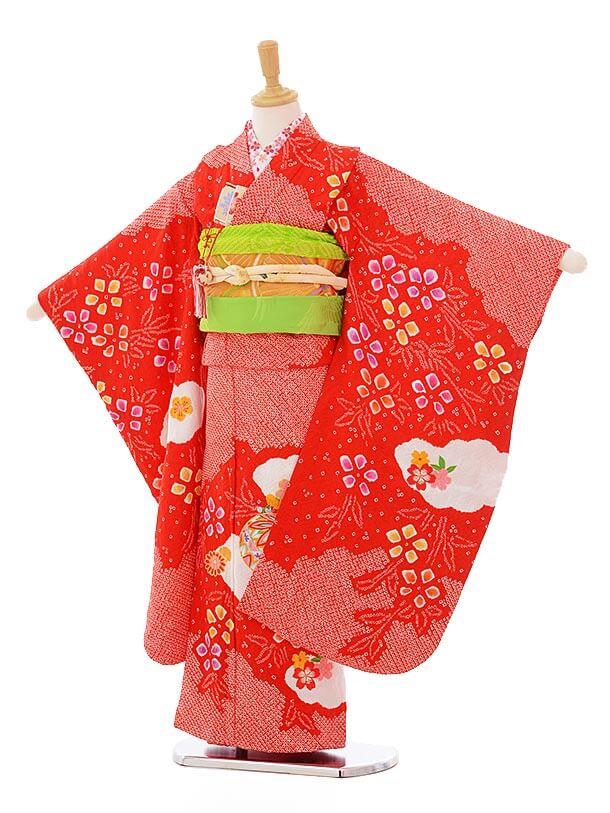 七五三(7歳女袋帯)7325 赤地 絞りまり (正絹)