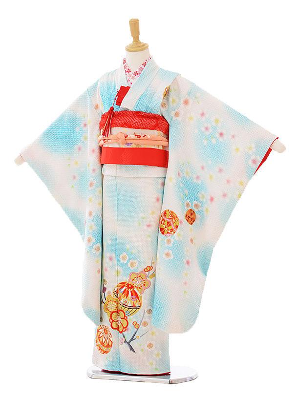 七五三レンタル(7歳女の子袋帯)7326 水色総絞り梅尽くしにまり (正絹)