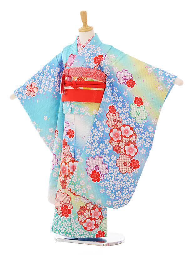 七五三レンタル(7歳女の子袋帯)7327 滝泰水色 梅桜づくし  (正絹)