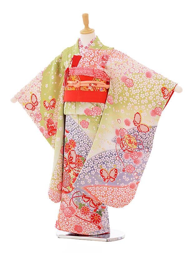 七五三(7歳女袋帯)7328 滝泰黄緑 小花 蝶 まり (正絹)