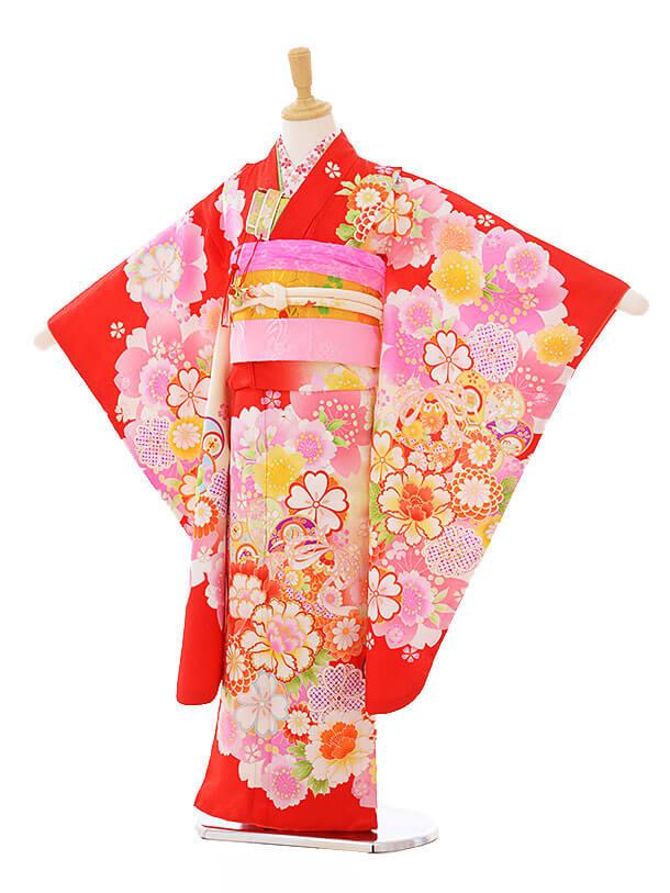 七五三(7歳女袋帯)7331 赤地 花づくし (正絹)