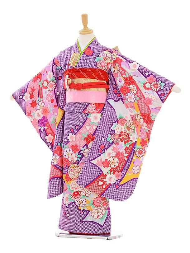 七五三レンタル(7歳女の子結び帯)7349 紫地 のしめ花