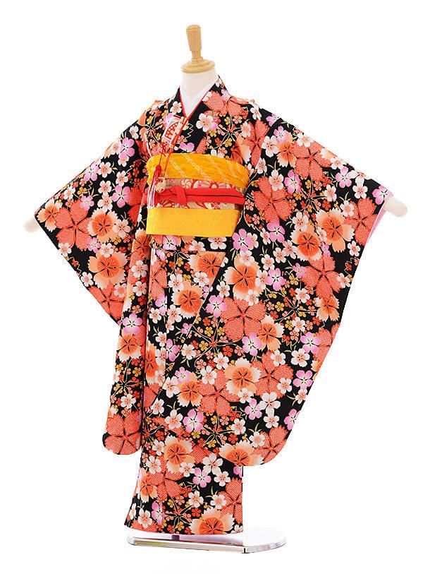 七五三レンタル(7歳女の子結び帯)7351 黒地 撫子 桜