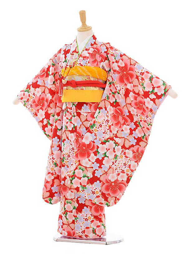 七五三(7歳女の子結び帯)7357 赤地 桜