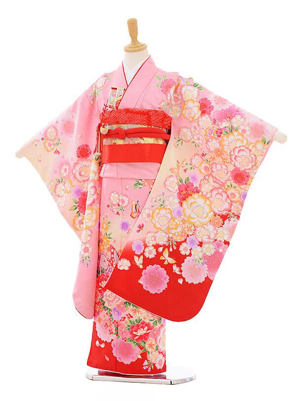 七五三レンタル(7歳女の子結び帯)7360 ピンク地 裾赤ぼたん蝶