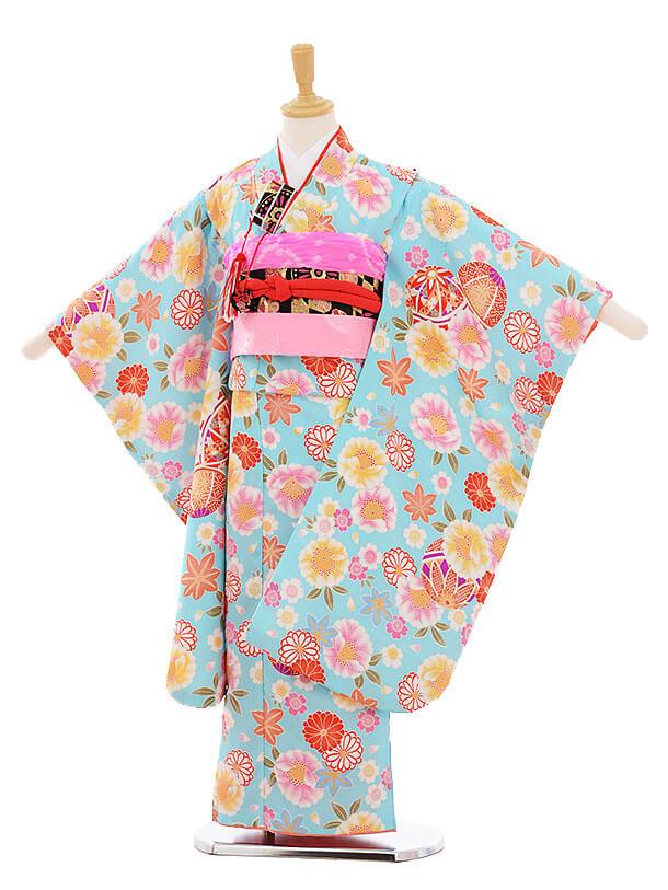 七五三(7歳女の子結び帯)7370 水色 まり花