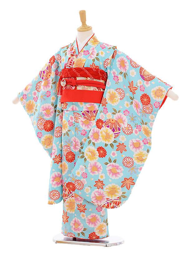 七五三(7歳女の子結び帯)7371 水色 まり花