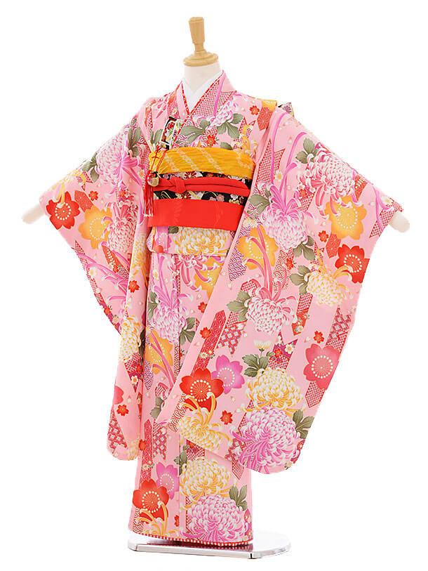 七五三レンタル(7歳女の子結び帯)7375 ピンク地 菊桜