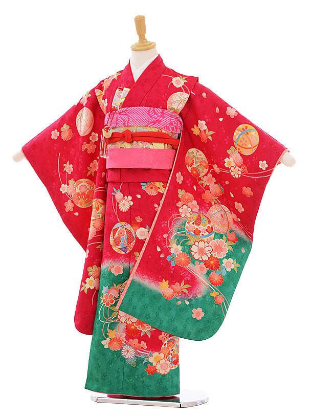 七五三(7歳女の子結び帯)7379 紅色 裾グリーンまり