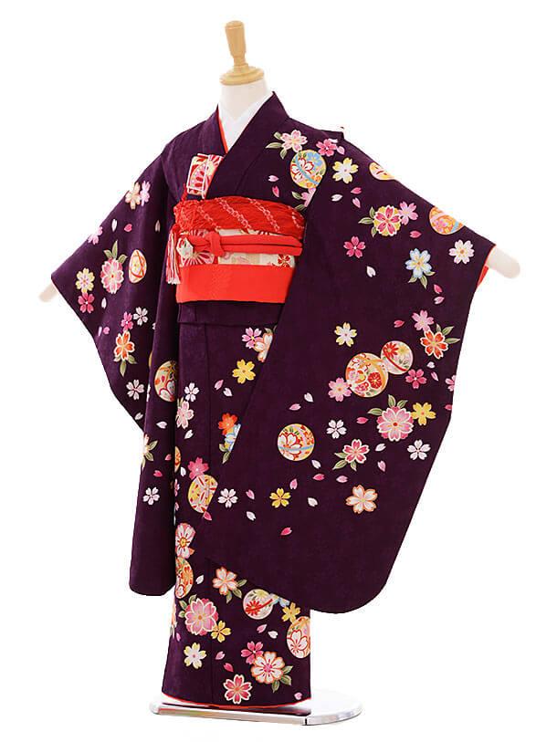 七五三(7歳女の子結び帯)7382 紫 まり桜