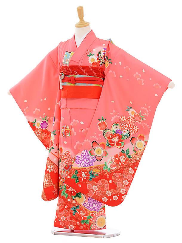 七五三(7歳女の子結び帯)7389 ピンク地 裾赤ぼたん桜
