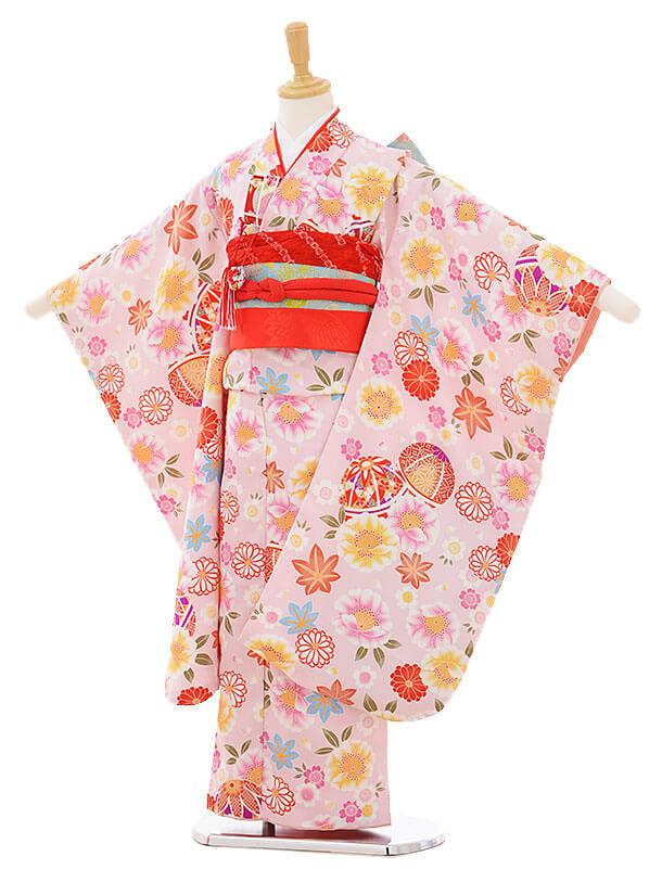 七五三レンタル(7歳女の子結び帯)7397 ピンク地 まり花づくし