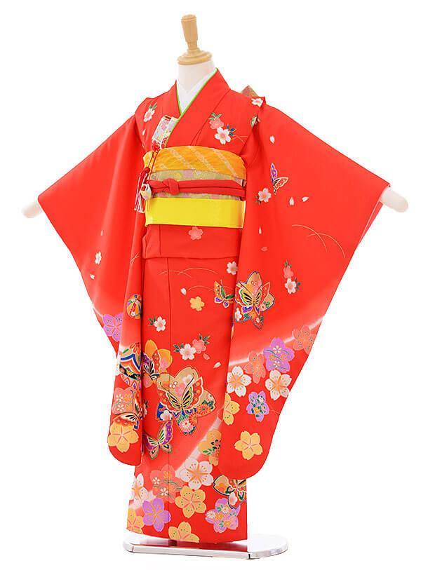七五三(7歳女の子結び帯)7402 赤地 梅に蝶