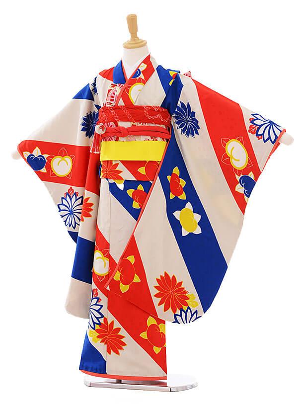 七五三レンタル(7歳女の子結び帯)7406 モダンアンテナ ポンツ赤