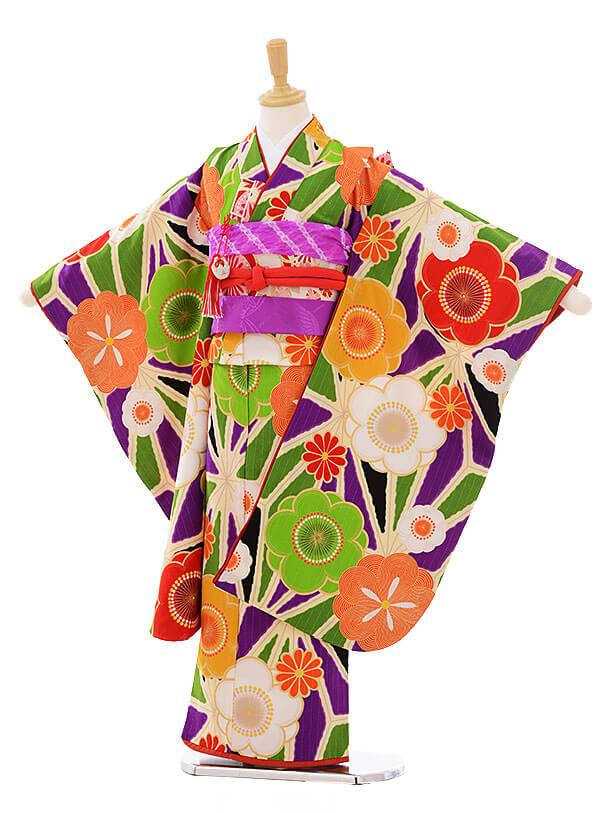 七五三レンタル(7歳女の子結び帯)7409 Lakokula 古典 花緑