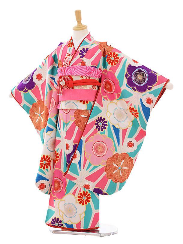 七五三レンタル(7歳女の子結び帯)7410 Lakokula 古典花 水色