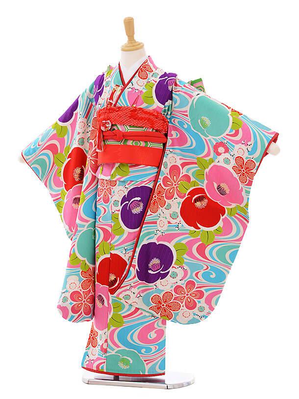 七五三レンタル(7歳女の子結び帯)7411 Lakokula 椿 水色