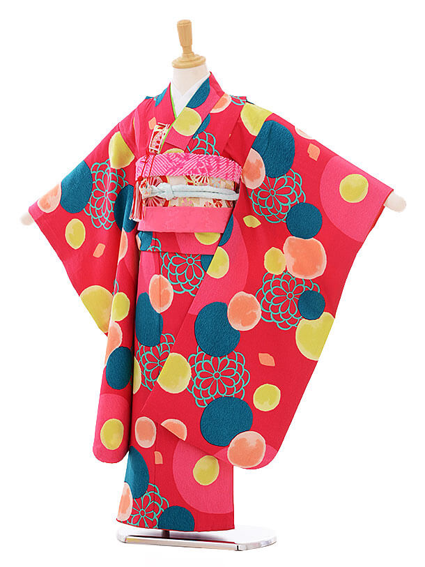 七五三レンタル(7歳女の子結び帯)7415 ピンク 水玉