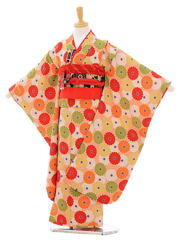 七五三レンタル(7歳女の子結び帯)7420 オレンジ ちりめん菊