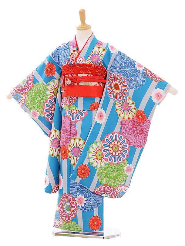七五三レンタル(7歳女の子結び帯)7428 水色 縞菊
