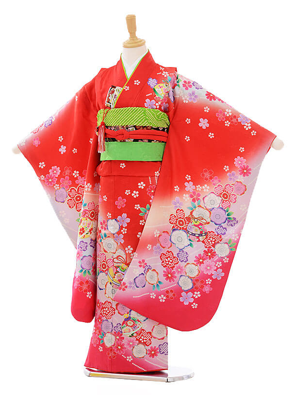 七五三レンタル(7歳女の子結び帯)7432 赤地 鈴に花(正絹)