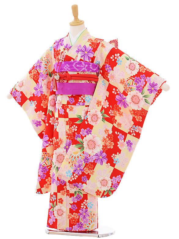 七五三(7歳女の子結び帯)7433 赤×白 花