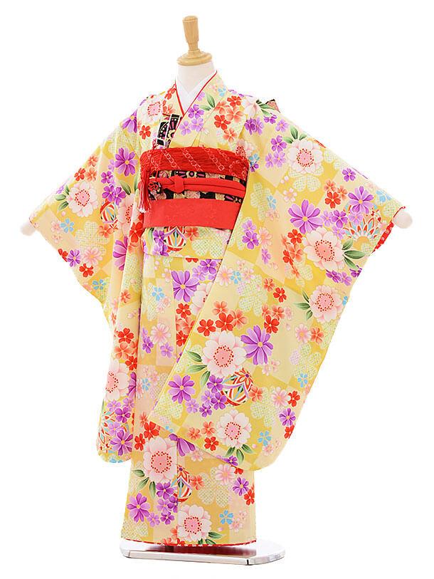 七五三レンタル(7歳女の子結び帯)7434 クリーム色 花