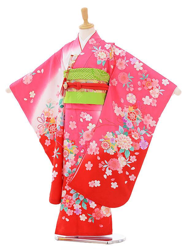 七五三(7歳女の子結び帯)7438 ピンク地 裾赤 鈴花