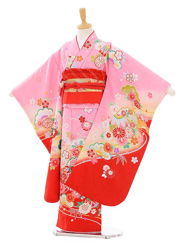 七五三(7歳女の子結び帯)7440 ピンク地 裾赤 雪輪に花